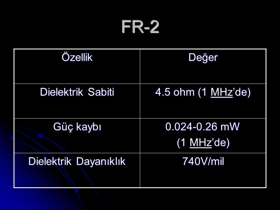 FR-2 ÖzellikDeğer Dielektrik Sabiti 4.5 ohm (1 MHz'de) MHz Güç kaybı 0.024-0.26 mW (1 MHz'de) MHz Dielektrik Dayanıklık 740V/mil