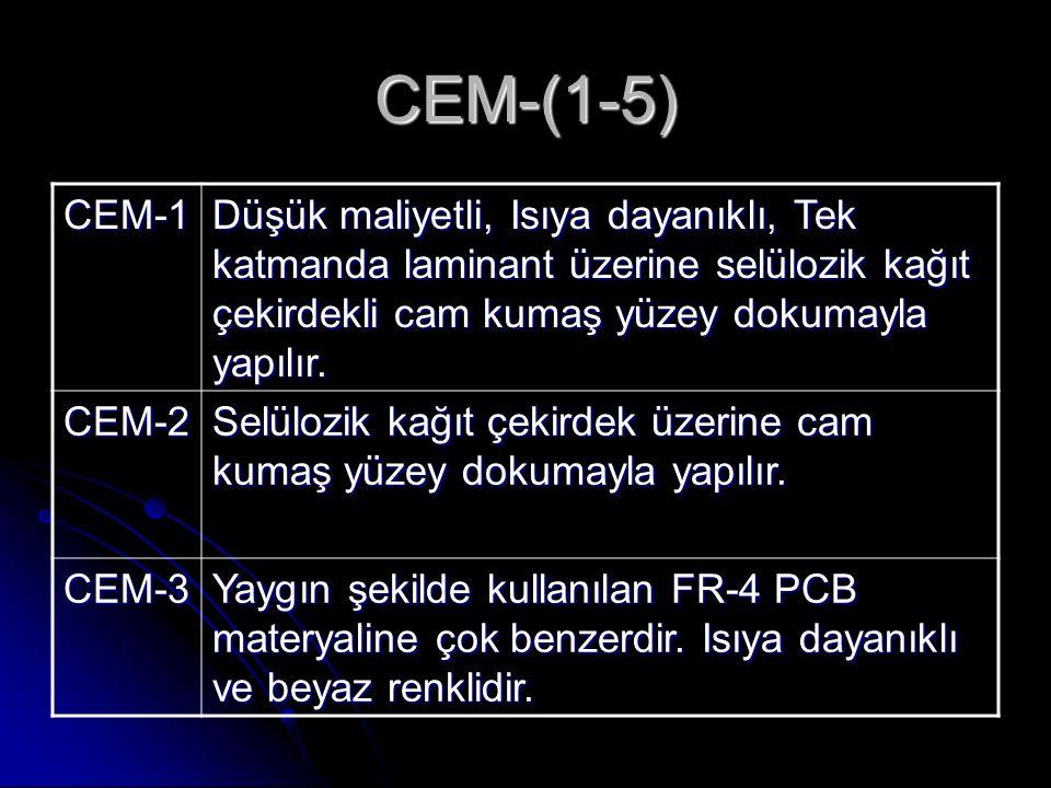 CEM-(1-5) CEM-1 Düşük maliyetli, Isıya dayanıklı, Tek katmanda laminant üzerine selülozik kağıt çekirdekli cam kumaş yüzey dokumayla yapılır. CEM-2 Se