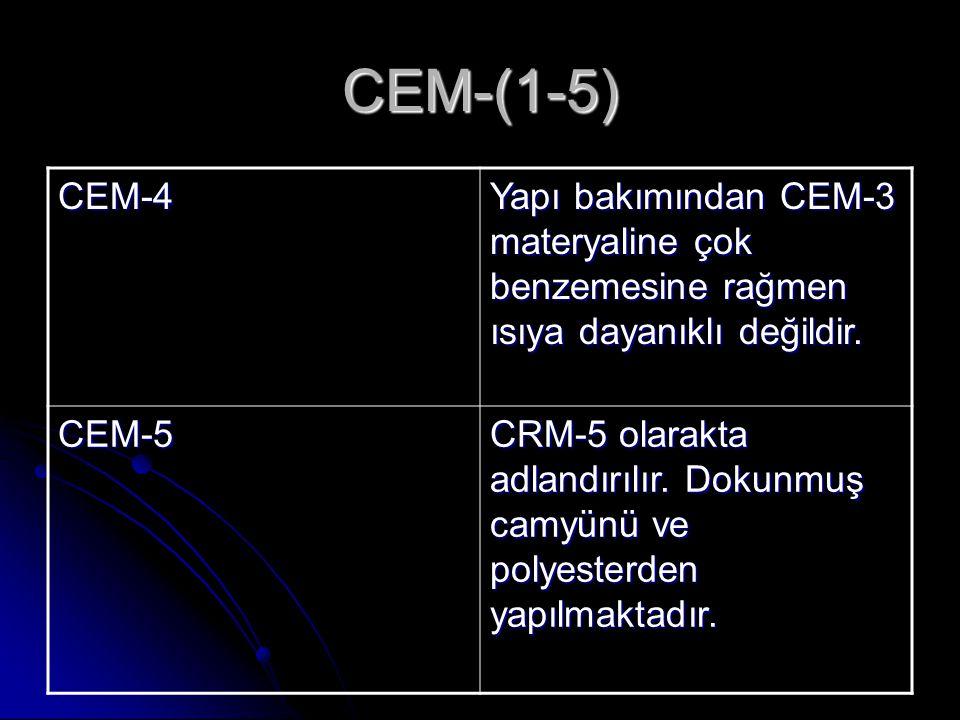 CEM-(1-5) CEM-4 Yapı bakımından CEM-3 materyaline çok benzemesine rağmen ısıya dayanıklı değildir. CEM-5 CRM-5 olarakta adlandırılır. Dokunmuş camyünü