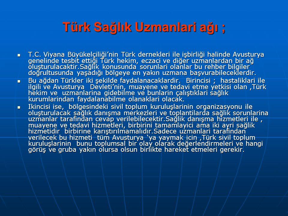 Türk Sağlık Uzmanlari ağı ;  T.C. Viyana Büyükelçiliği'nin Türk dernekleri ile işbirliği halinde Avusturya genelinde tesbit ettiği Türk hekim, eczaci