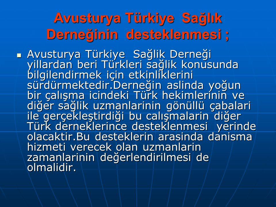 Avusturya Türkiye Sağlık Derneğinin desteklenmesi ;  Avusturya Türkiye Sağlik Derneği yillardan beri Türkleri sağlik konusunda bilgilendirmek için et