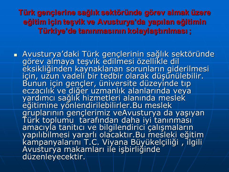 Türk gençlerine sağlık sektöründe görev almak üzere eğitim için teşvik ve Avusturya'da yapılan eğitimin Türkiye'de tanınmasının kolaylaştırılması ; 