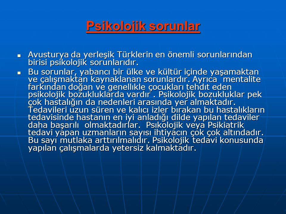 Psikolojik sorunlar  Avusturya da yerleşik Türklerin en önemli sorunlarından birisi psikolojik sorunlarıdır.  Bu sorunlar, yabancı bir ülke ve kültü