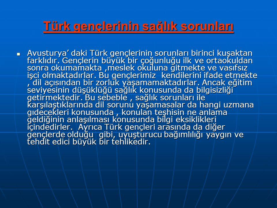 Türk gençlerinin sağlık sorunları  Avusturya' daki Türk gençlerinin sorunları birinci kuşaktan farklıdır. Gençlerin büyük bir çoğunluğu ilk ve ortaok