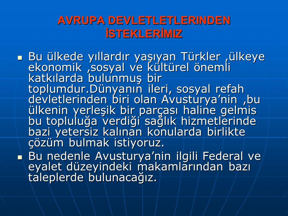 AVRUPA DEVLETLETLERINDEN İSTEKLERİMIZ  Bu ülkede yıllardır yaşıyan Türkler,ülkeye ekonomik,sosyal ve kültürel önemli katkılarda bulunmuş bir toplumdu
