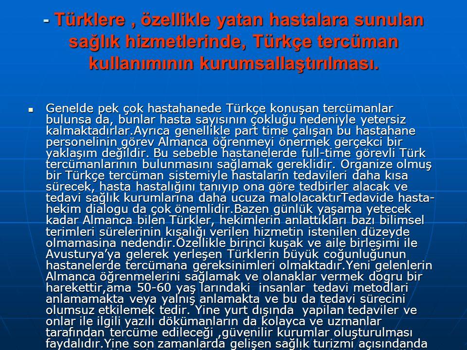 - Türklere, özellikle yatan hastalara sunulan sağlık hizmetlerinde, Türkçe tercüman kullanımının kurumsallaştırılması.  Genelde pek çok hastahanede T