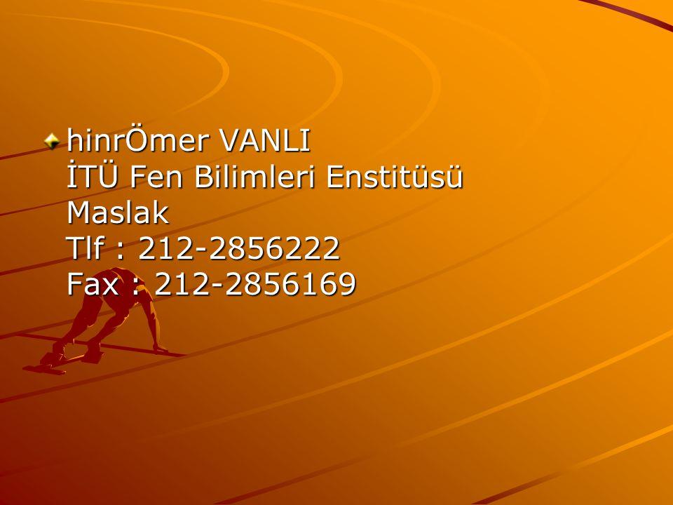 hinrÖmer VANLI İTÜ Fen Bilimleri Enstitüsü Maslak Tlf : 212-2856222 Fax : 212-2856169