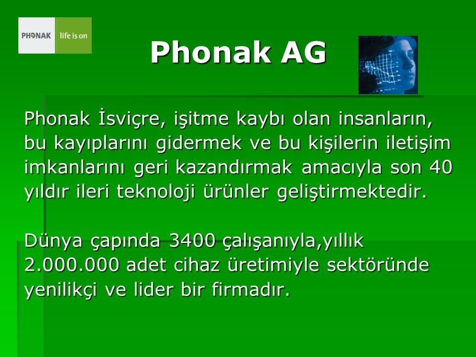 Phonak AG Phonak İsviçre, işitme kaybı olan insanların, bu kayıplarını gidermek ve bu kişilerin iletişim imkanlarını geri kazandırmak amacıyla son 40