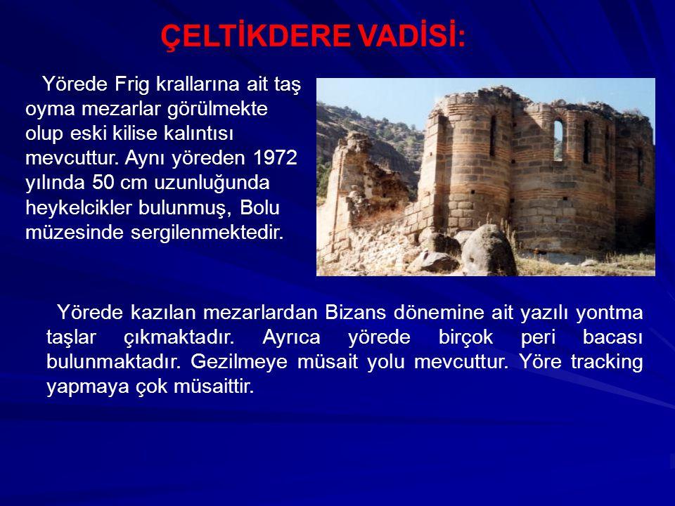 ÇELTİKDERE VADİSİ: Yörede Frig krallarına ait taş oyma mezarlar görülmekte olup eski kilise kalıntısı mevcuttur. Aynı yöreden 1972 yılında 50 cm uzunl