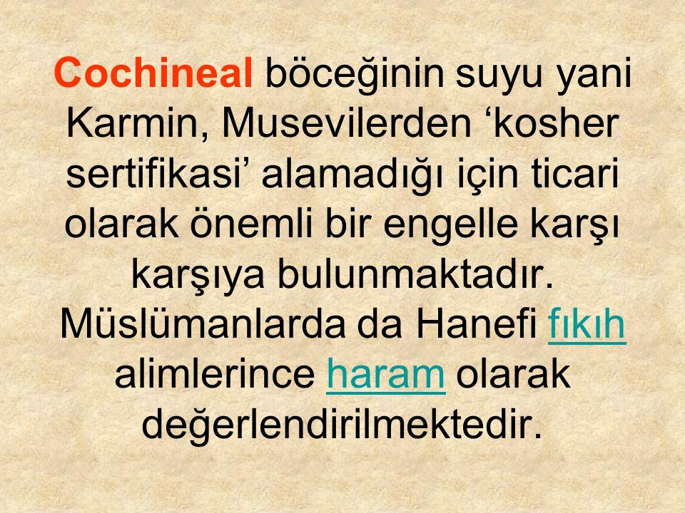 Cochineal böceğinin suyu yani Karmin, Musevilerden 'kosher sertifikasi' alamadığı için ticari olarak önemli bir engelle karşı karşıya bulunmaktadır. M
