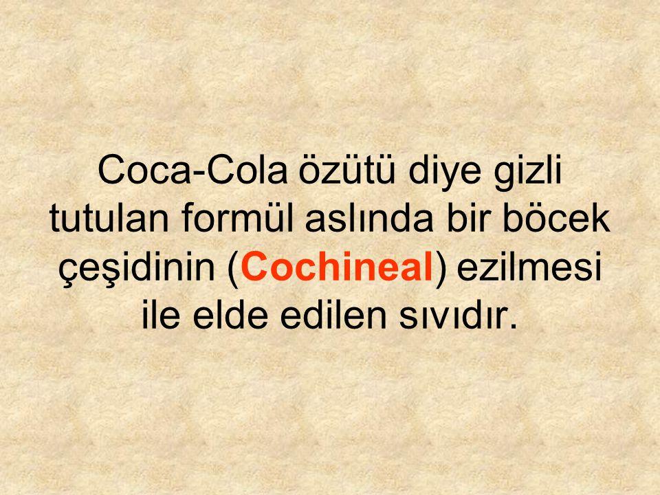 Coca-Cola özütü diye gizli tutulan formül aslında bir böcek çeşidinin (Cochineal) ezilmesi ile elde edilen sıvıdır.
