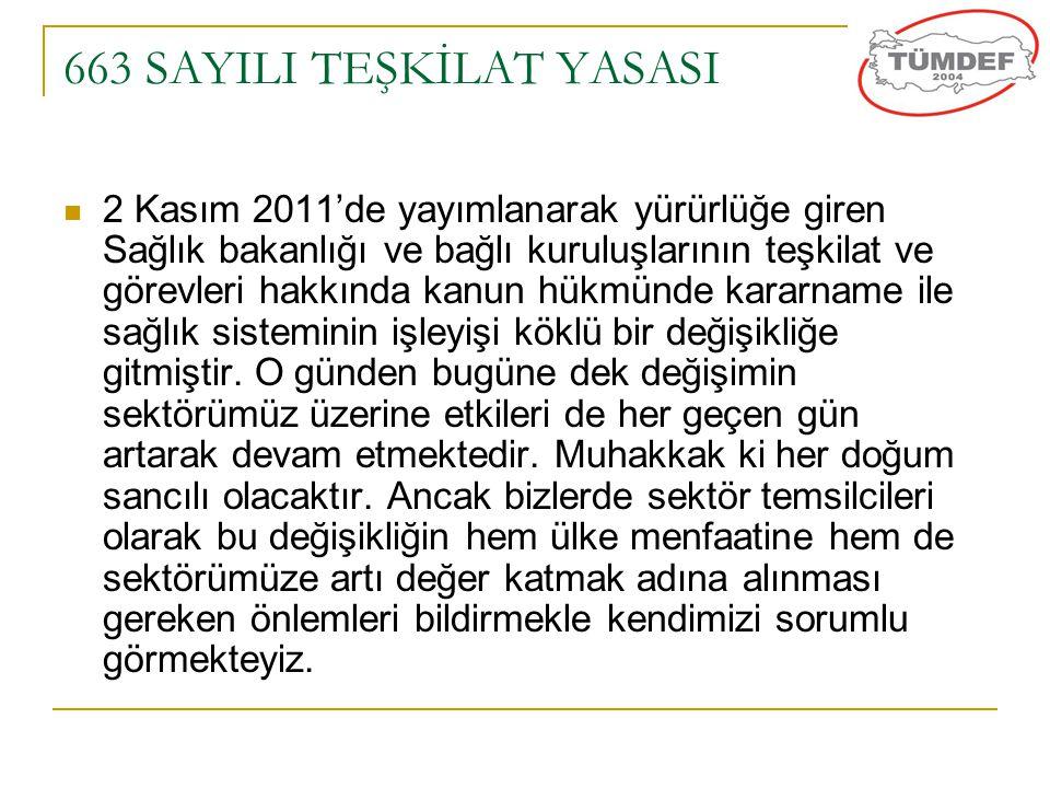 663 SAYILI TEŞKİLAT YASASI  2 Kasım 2011'de yayımlanarak yürürlüğe giren Sağlık bakanlığı ve bağlı kuruluşlarının teşkilat ve görevleri hakkında kanu