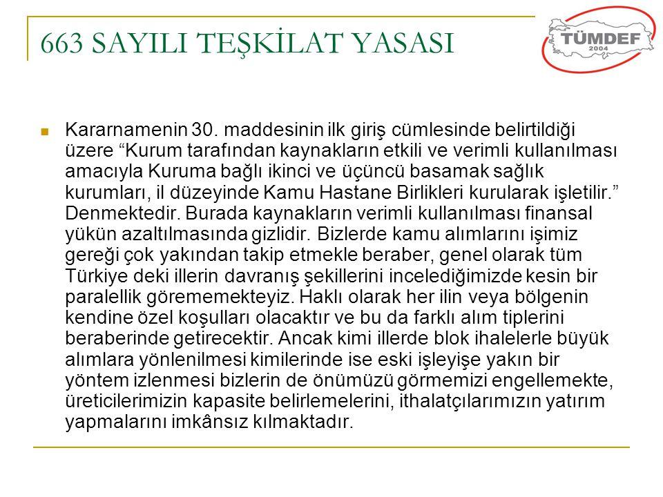 """663 SAYILI TEŞKİLAT YASASI  Kararnamenin 30. maddesinin ilk giriş cümlesinde belirtildiği üzere """"Kurum tarafından kaynakların etkili ve verimli kulla"""