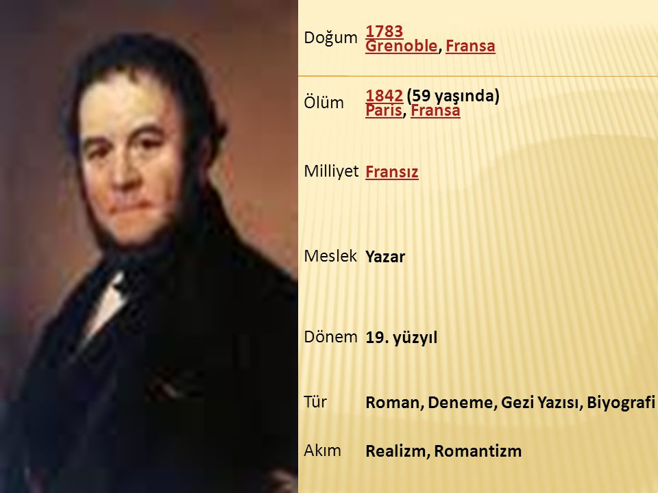 Doğum 1783 Grenoble1783 Grenoble, FransaFransa Ölüm 18421842 (59 yaşında) Paris, Fransa ParisFransa Milliyet Fransız Meslek Yazar Dönem 19. yüzyıl Tür