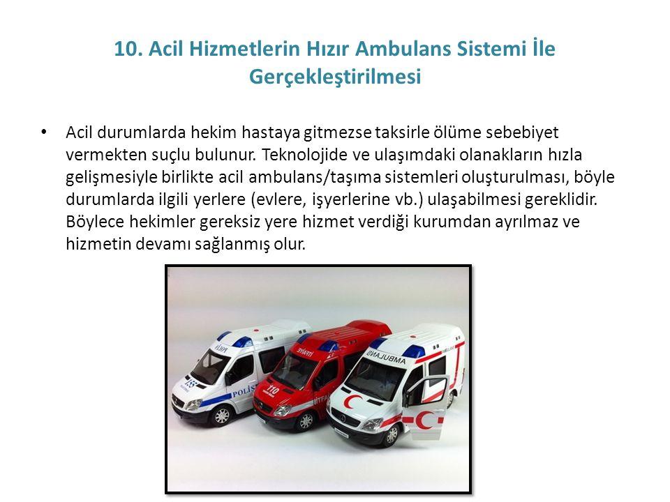 10. Acil Hizmetlerin Hızır Ambulans Sistemi İle Gerçekleştirilmesi • Acil durumlarda hekim hastaya gitmezse taksirle ölüme sebebiyet vermekten suçlu b
