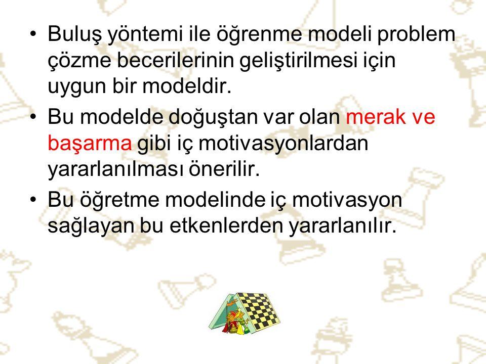 •B•Buluş yöntemi ile öğrenme modeli problem çözme becerilerinin geliştirilmesi için uygun bir modeldir. •B•Bu modelde doğuştan var olan merak ve başar