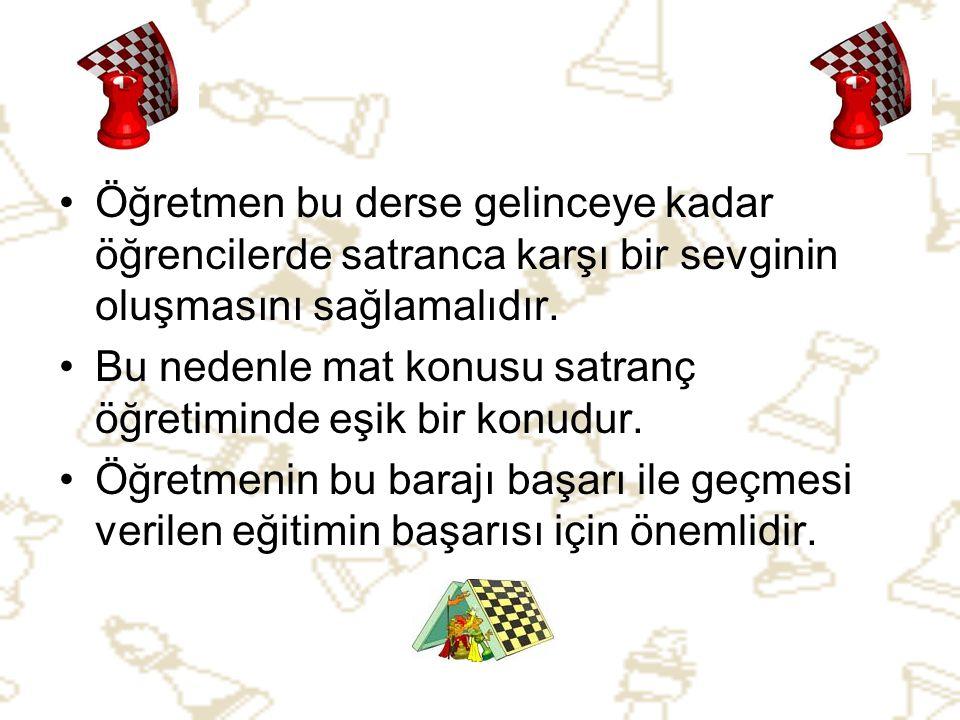 •Ö•Öğretmen bu derse gelinceye kadar öğrencilerde satranca karşı bir sevginin oluşmasını sağlamalıdır. •B•Bu nedenle mat konusu satranç öğretiminde eş