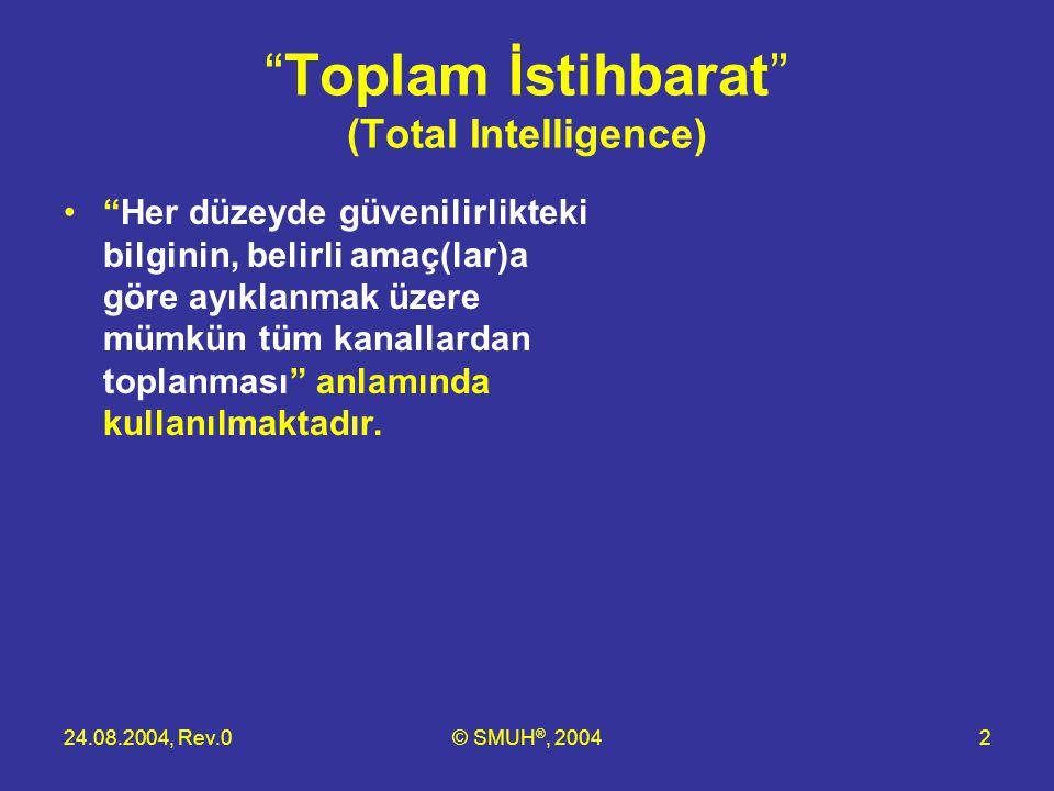 """24.08.2004, Rev.0© SMUH ®, 20042 """"Toplam İstihbarat"""" (Total Intelligence) •""""Her düzeyde güvenilirlikteki bilginin, belirli amaç(lar)a göre ayıklanmak"""