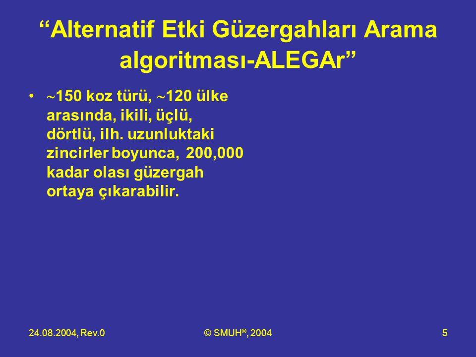 """24.08.2004, Rev.0© SMUH ®, 20045 """"Alternatif Etki Güzergahları Arama algoritması-ALEGAr"""" •  150 koz türü,  120 ülke arasında, ikili, üçlü, dörtlü, i"""