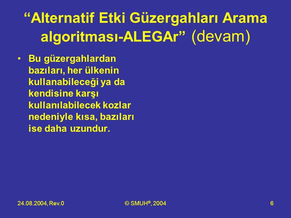 """24.08.2004, Rev.0© SMUH ®, 20046 """"Alternatif Etki Güzergahları Arama algoritması-ALEGAr"""" (devam) •Bu güzergahlardan bazıları, her ülkenin kullanabilec"""
