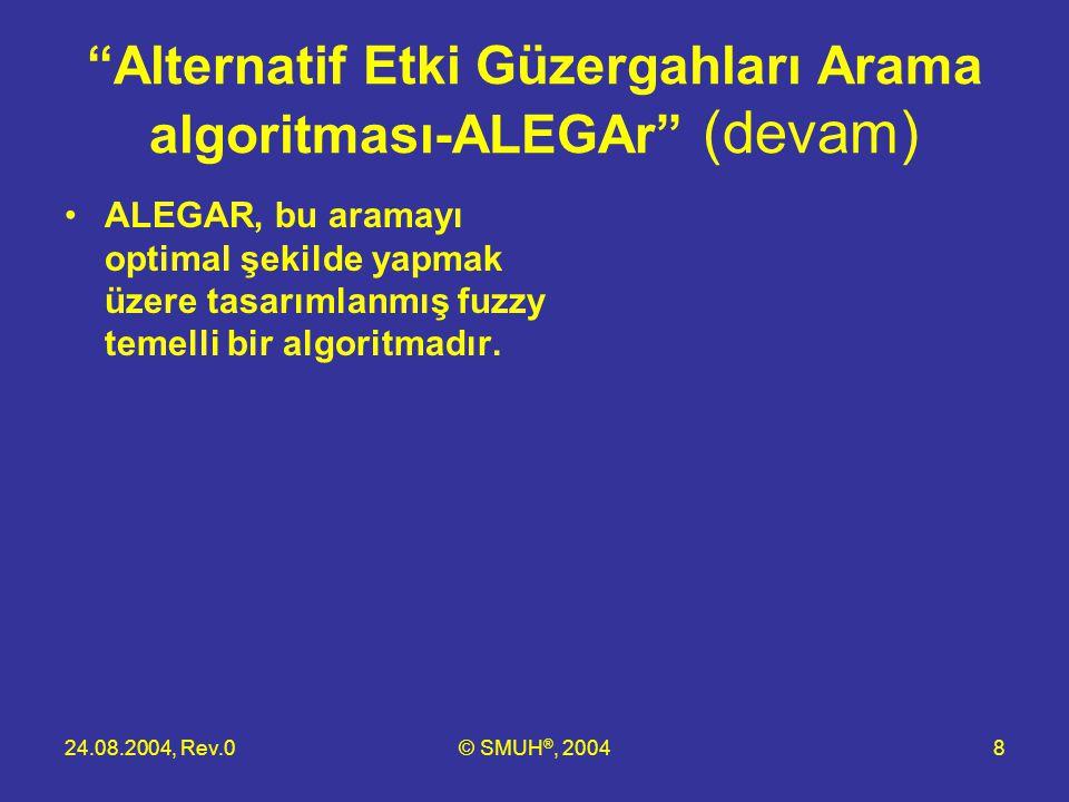 """24.08.2004, Rev.0© SMUH ®, 20048 """"Alternatif Etki Güzergahları Arama algoritması-ALEGAr"""" (devam) •ALEGAR, bu aramayı optimal şekilde yapmak üzere tasa"""