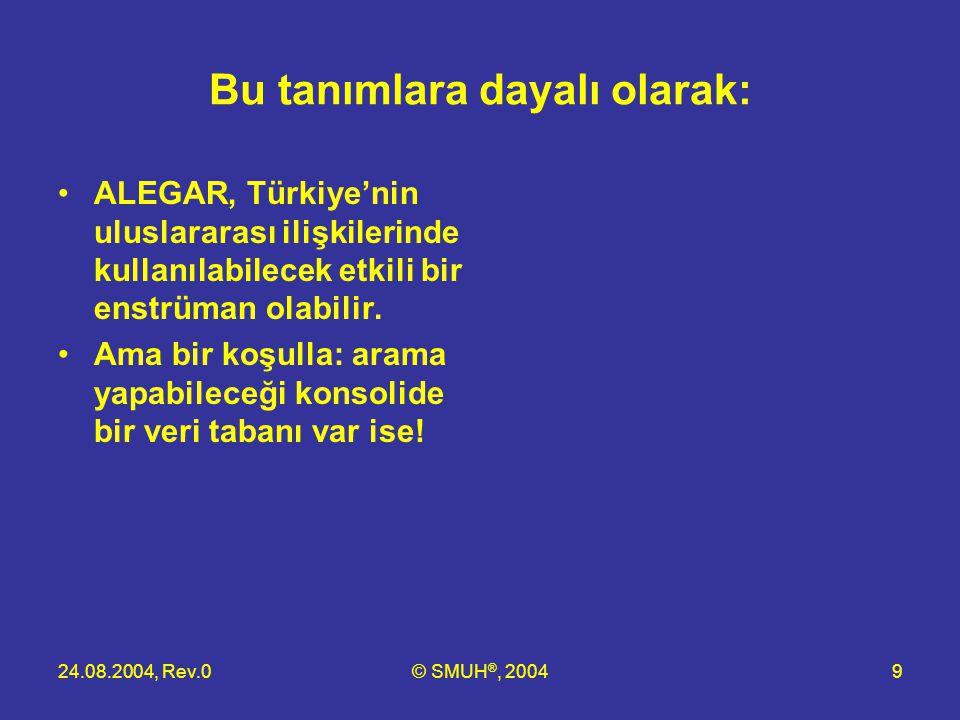 24.08.2004, Rev.0© SMUH ®, 20049 Bu tanımlara dayalı olarak: •ALEGAR, Türkiye'nin uluslararası ilişkilerinde kullanılabilecek etkili bir enstrüman ola