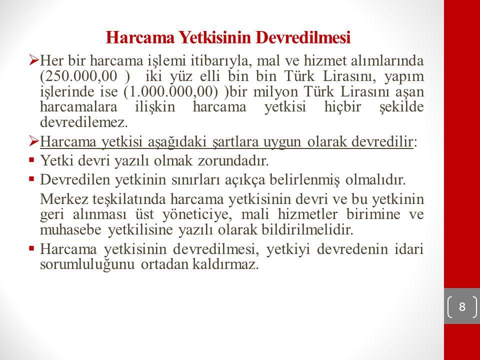 Harcama Yetkisinin Devredilmesi  Her bir harcama işlemi itibarıyla, mal ve hizmet alımlarında (250.000,00 ) iki yüz elli bin bin Türk Lirasını, yapım