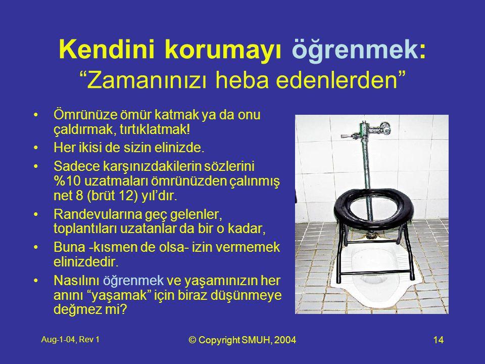 Aug-1-04, Rev 1 © Copyright SMUH, 200414 Kendini korumayı öğrenmek: Zamanınızı heba edenlerden •Ömrünüze ömür katmak ya da onu çaldırmak, tırtıklatmak.