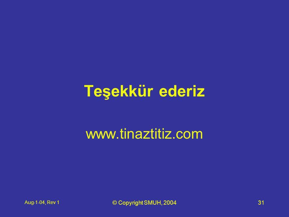 Aug-1-04, Rev 1 © Copyright SMUH, 200431 Teşekkür ederiz www.tinaztitiz.com