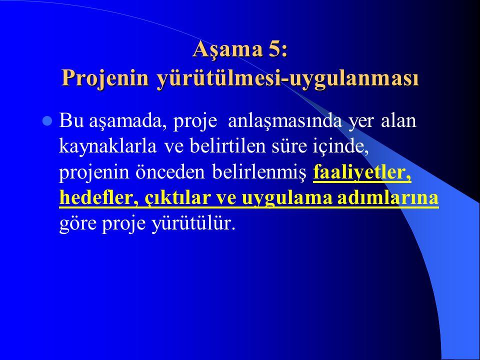 Aşama 6: İzleme-Değerlendirme  Proje performansının ortaya konulacağı aşamadır.