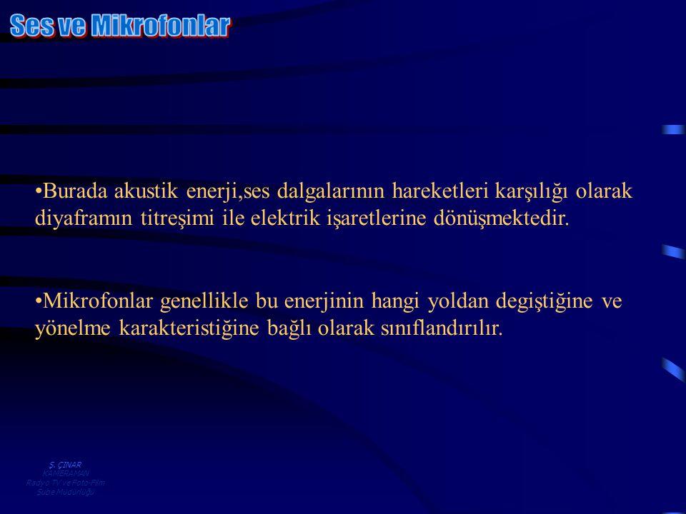 Ş. ÇINAR KAMERAMAN Radyo TV ve Foto-Film Şube Müdürlüğü •Burada akustik enerji,ses dalgalarının hareketleri karşılığı olarak diyaframın titreşimi ile