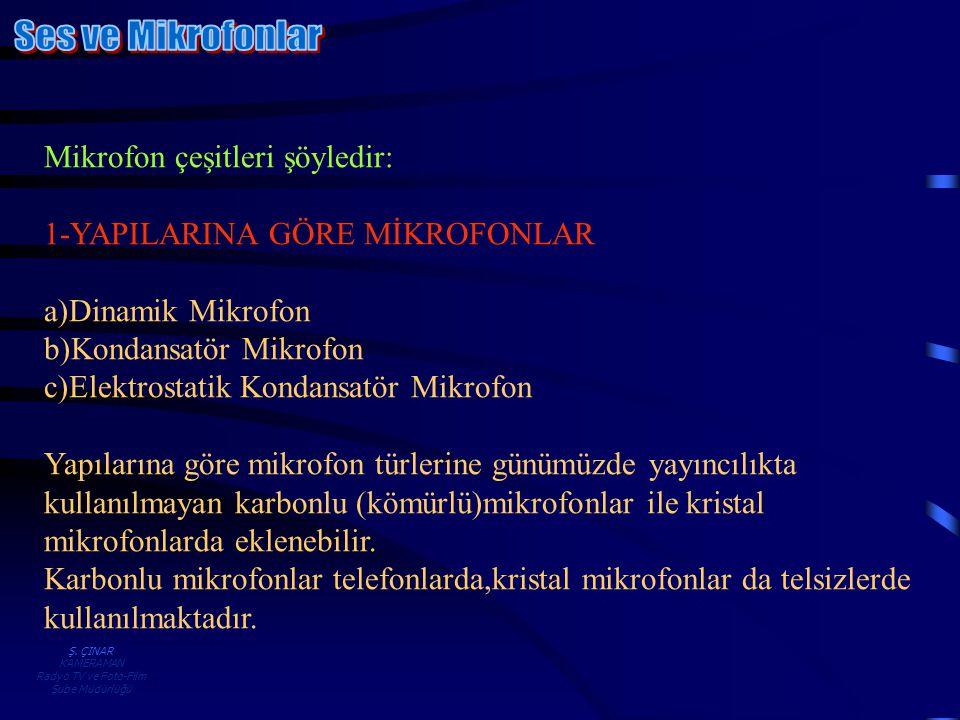 Ş. ÇINAR KAMERAMAN Radyo TV ve Foto-Film Şube Müdürlüğü Mikrofon çeşitleri şöyledir: 1-YAPILARINA GÖRE MİKROFONLAR a)Dinamik Mikrofon b)Kondansatör Mi
