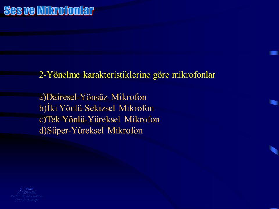 Ş. ÇINAR KAMERAMAN Radyo TV ve Foto-Film Şube Müdürlüğü 2-Yönelme karakteristiklerine göre mikrofonlar a)Dairesel-Yönsüz Mikrofon b)İki Yönlü-Sekizsel