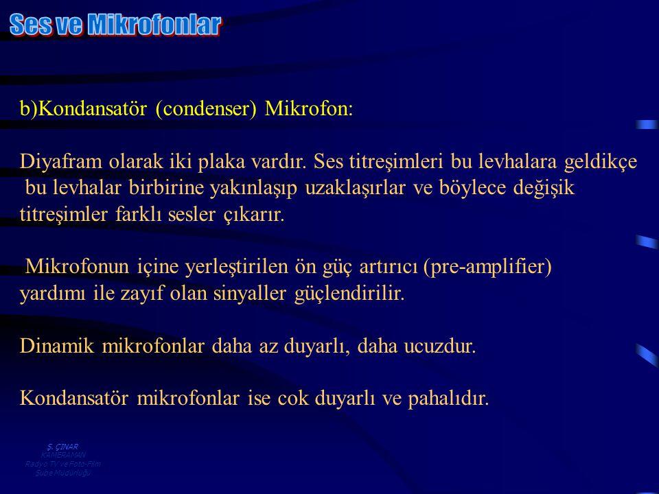 Ş. ÇINAR KAMERAMAN Radyo TV ve Foto-Film Şube Müdürlüğü b)Kondansatör (condenser) Mikrofon: Diyafram olarak iki plaka vardır. Ses titreşimleri bu levh