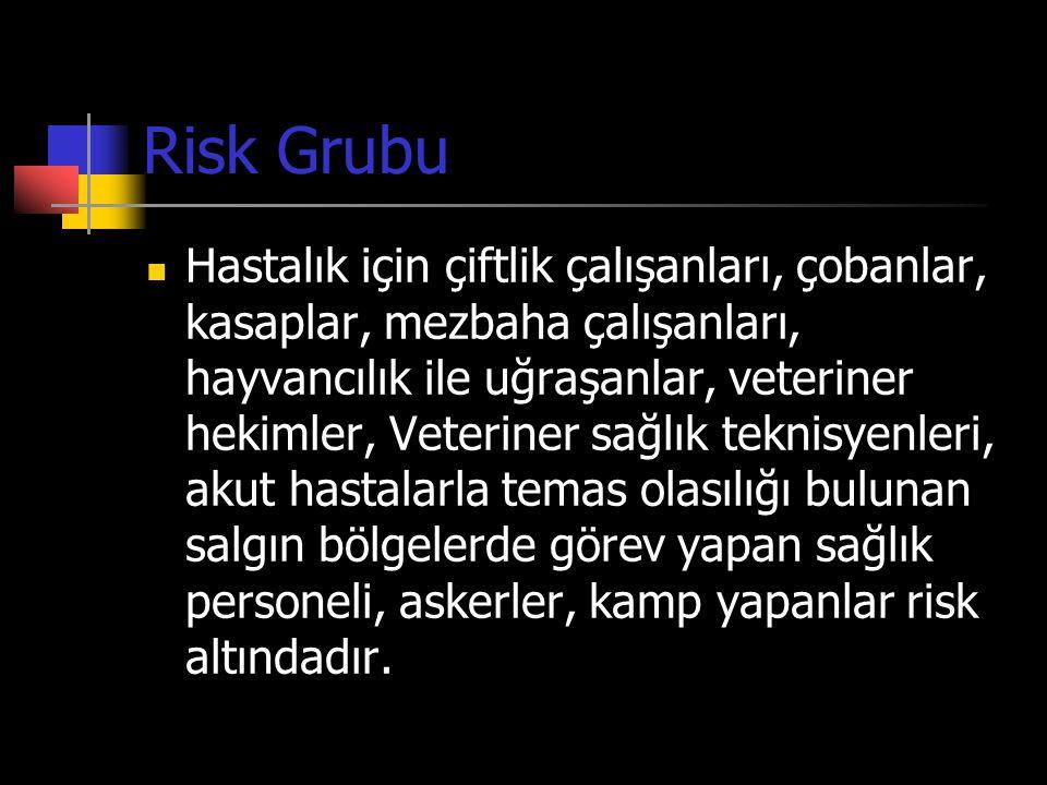 Risk Grubu  Hastalık için çiftlik çalışanları, çobanlar, kasaplar, mezbaha çalışanları, hayvancılık ile uğraşanlar, veteriner hekimler, Veteriner sağ