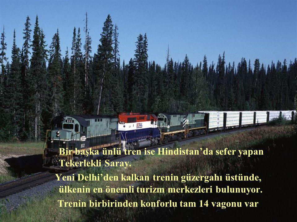 • Bir başka ünlü tren ise Hindistan'da sefer yapan Tekerlekli Saray. Yeni Delhi'den kalkan trenin güzergahı üstünde, ülkenin en önemli turizm merkezle