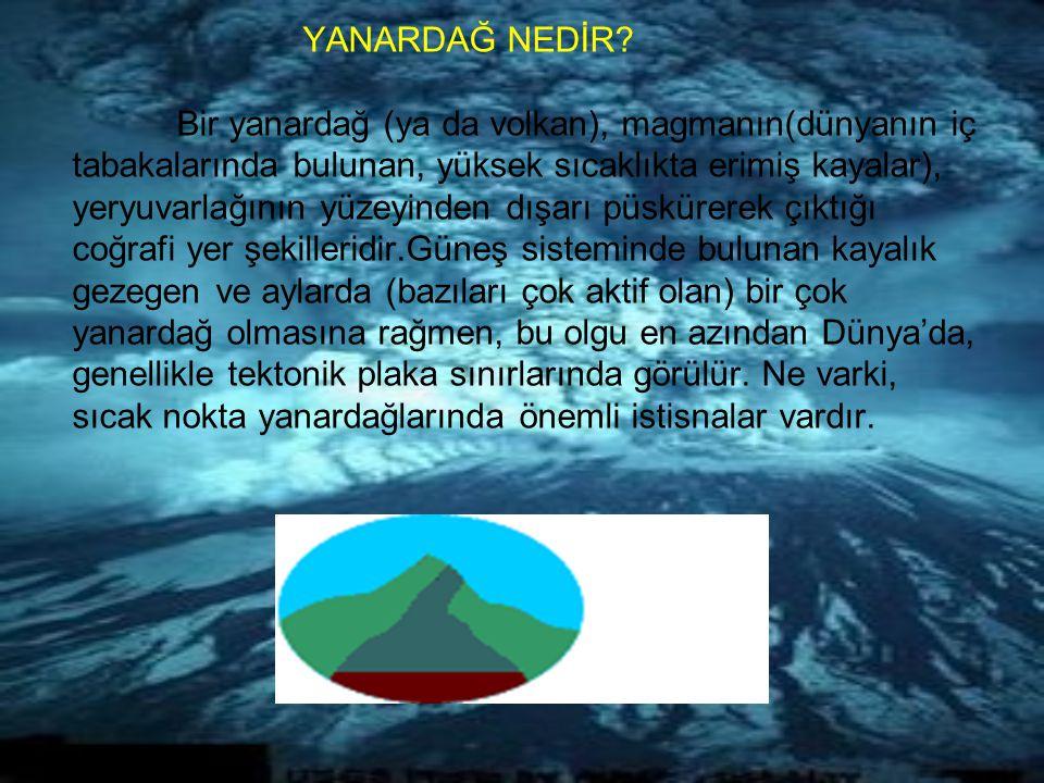 YANARDAĞ NEDİR? Bir yanardağ (ya da volkan), magmanın(dünyanın iç tabakalarında bulunan, yüksek sıcaklıkta erimiş kayalar), yeryuvarlağının yüzeyinden