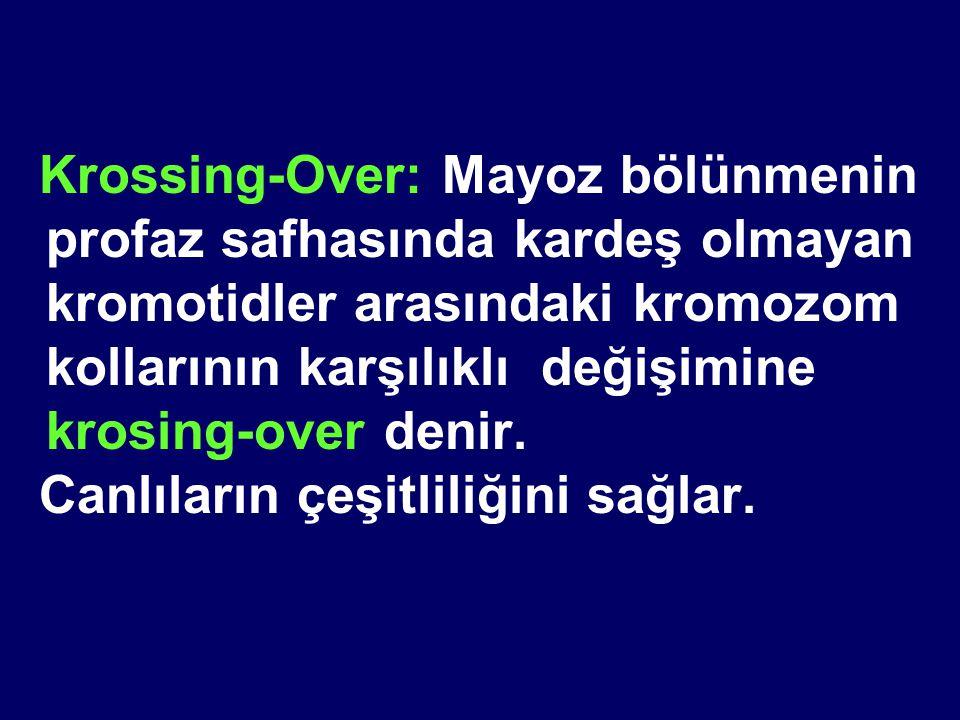 Krossing-Over: Mayoz bölünmenin profaz safhasında kardeş olmayan kromotidler arasındaki kromozom kollarının karşılıklı değişimine krosing-over denir.