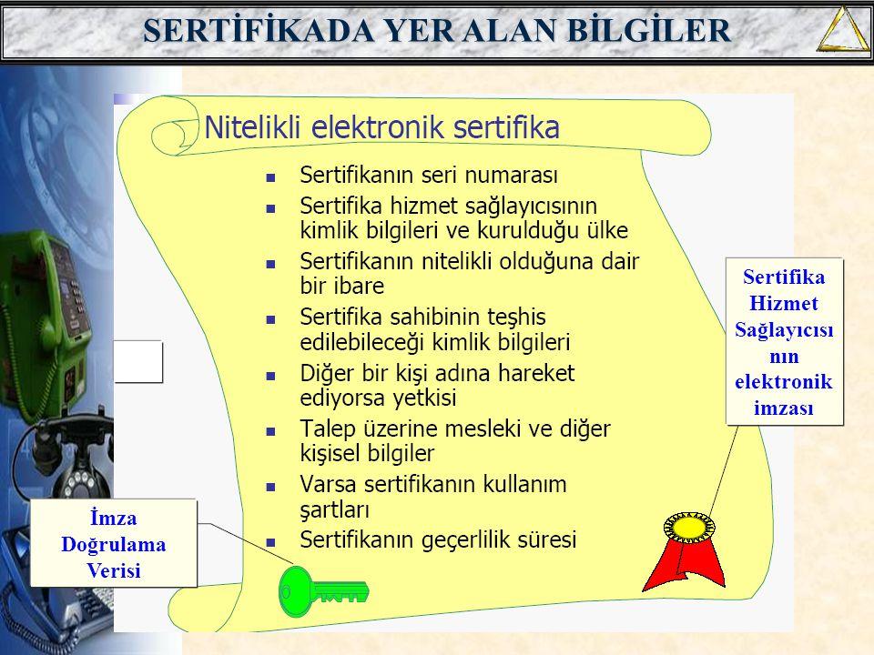 SERTİFİKADA YER ALAN BİLGİLER İmza Doğrulama Verisi Sertifika Hizmet Sağlayıcısı nın elektronik imzası