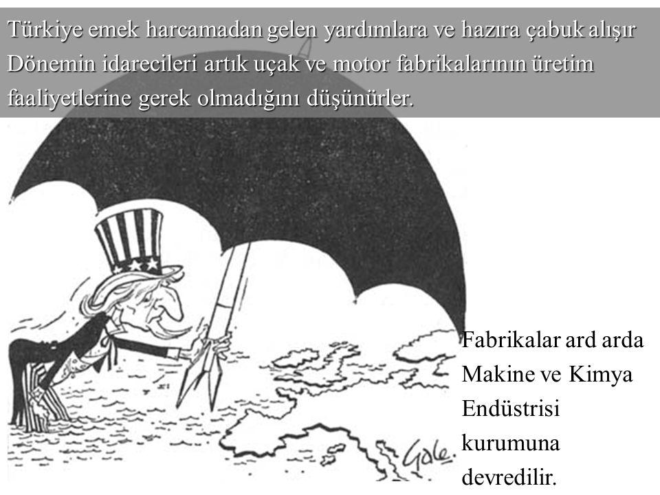 Savaş sonrasında ABD Hükümetinin Marshall planı devreye girer ve Türkiye'ye uygulanan ekonomik yardım çerçevesinde uçak ve motor verilmeye başlanır.