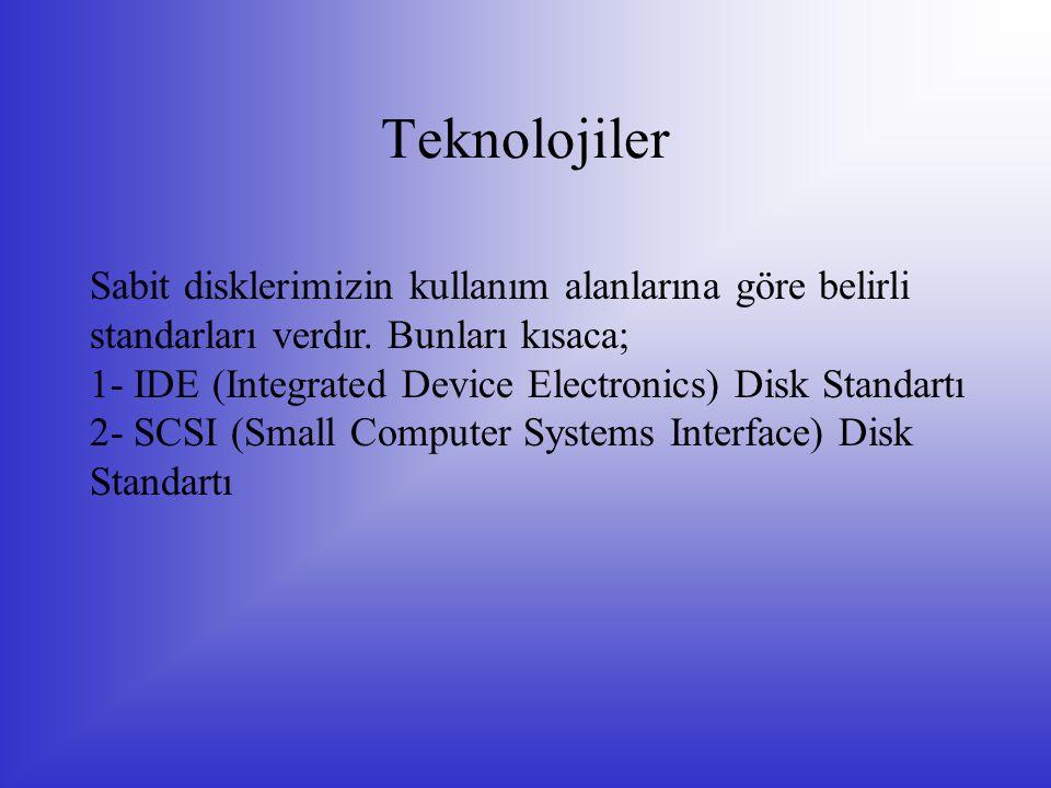 Teknolojiler Sabit disklerimizin kullanım alanlarına göre belirli standarları verdır. Bunları kısaca; 1- IDE (Integrated Device Electronics) Disk Stan
