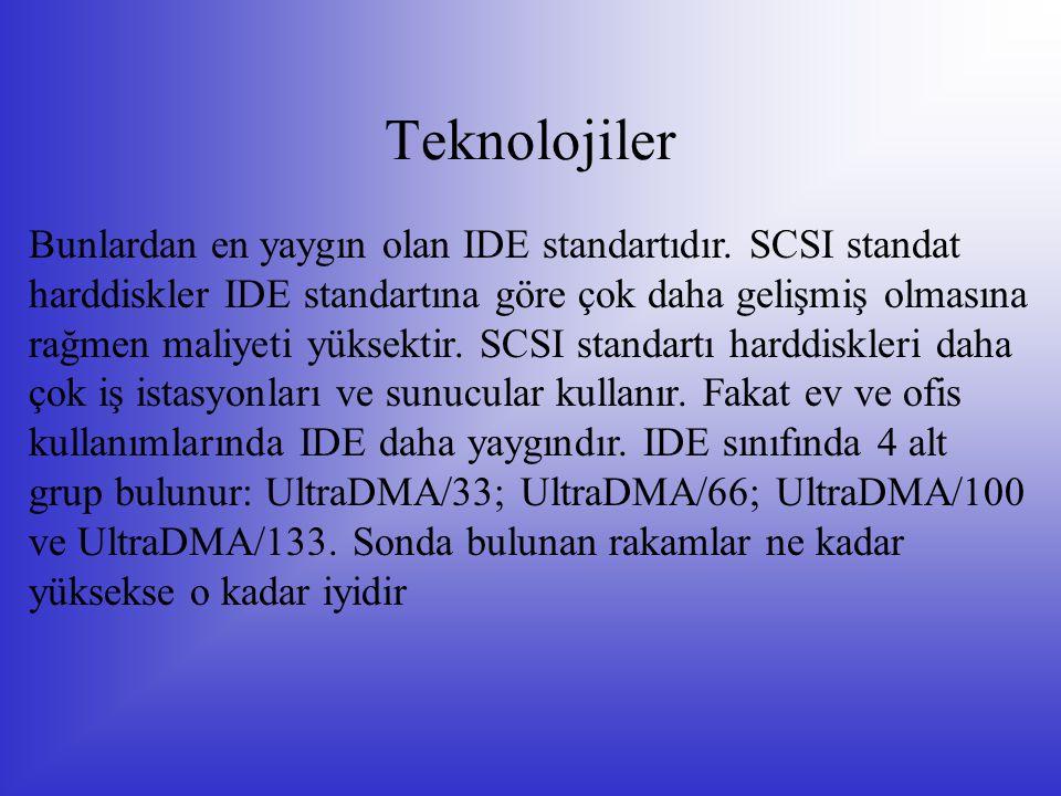 Teknolojiler Bunlardan en yaygın olan IDE standartıdır. SCSI standat harddiskler IDE standartına göre çok daha gelişmiş olmasına rağmen maliyeti yükse