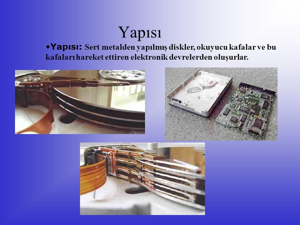 Yapısı •Yapısı: Sert metalden yapılmış diskler, okuyucu kafalar ve bu kafaları hareket ettiren elektronik devrelerden oluşurlar.
