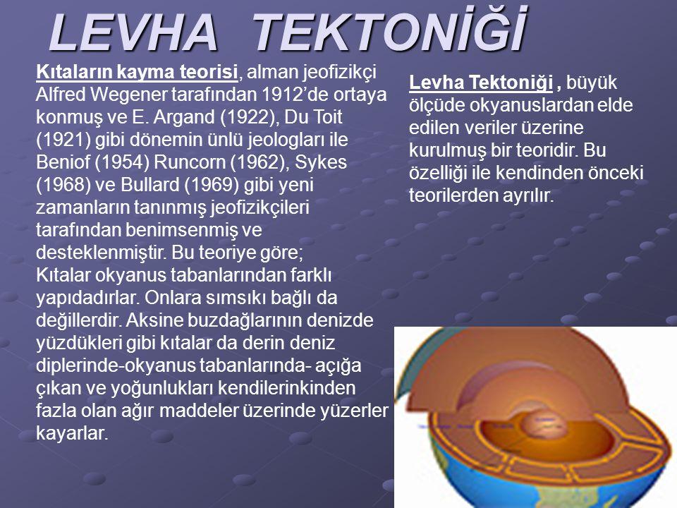 LEVHA TEKTONİĞİ Kıtaların kayma teorisi, alman jeofizikçi Alfred Wegener tarafından 1912'de ortaya konmuş ve E. Argand (1922), Du Toit (1921) gibi dön