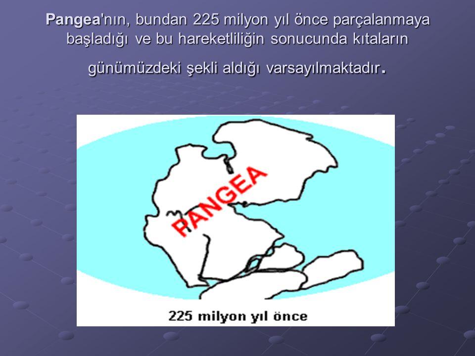 Pangea'nın, bundan 225 milyon yıl önce parçalanmaya başladığı ve bu hareketliliğin sonucunda kıtaların günümüzdeki şekli aldığı varsayılmaktadır.