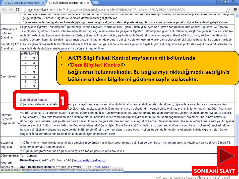 Yrd.Doç.Dr. Levent DURDU @ 2013, KOÜ - B.Ö.T.E. 24 • AKTS Bilgi Paketi Kontrol sayfasının alt bölümünde • «Ders Bilgileri Kontrol» ba ğ lantısı bulunm