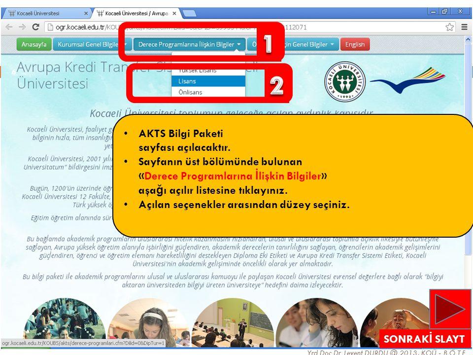 6 Yrd.Doç.Dr. Levent DURDU @ 2013, KOÜ - B.Ö.T.E. • AKTS Bilgi Paketi sayfası açılacaktır. • Sayfanın üst bölümünde bulunan «Derece Programlarına İ li