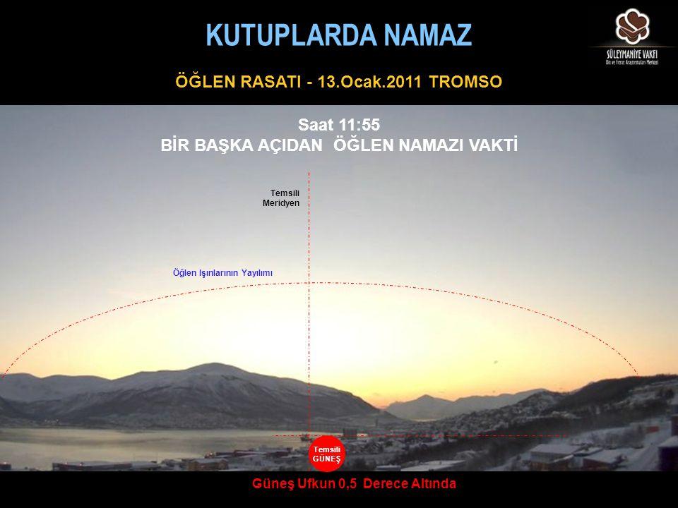 ÖĞLEN RASATI - 13.Ocak.2011 TROMSO Saat 11:55 BİR BAŞKA AÇIDAN ÖĞLEN NAMAZI VAKTİ Güneş Ufkun 0,5 Derece Altında Temsili Meridyen Öğlen Işınlarının Ya