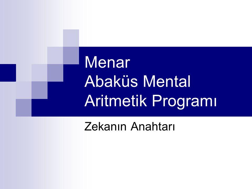 Menar Abaküs Mental Aritmetik Programı Zekanın Anahtarı