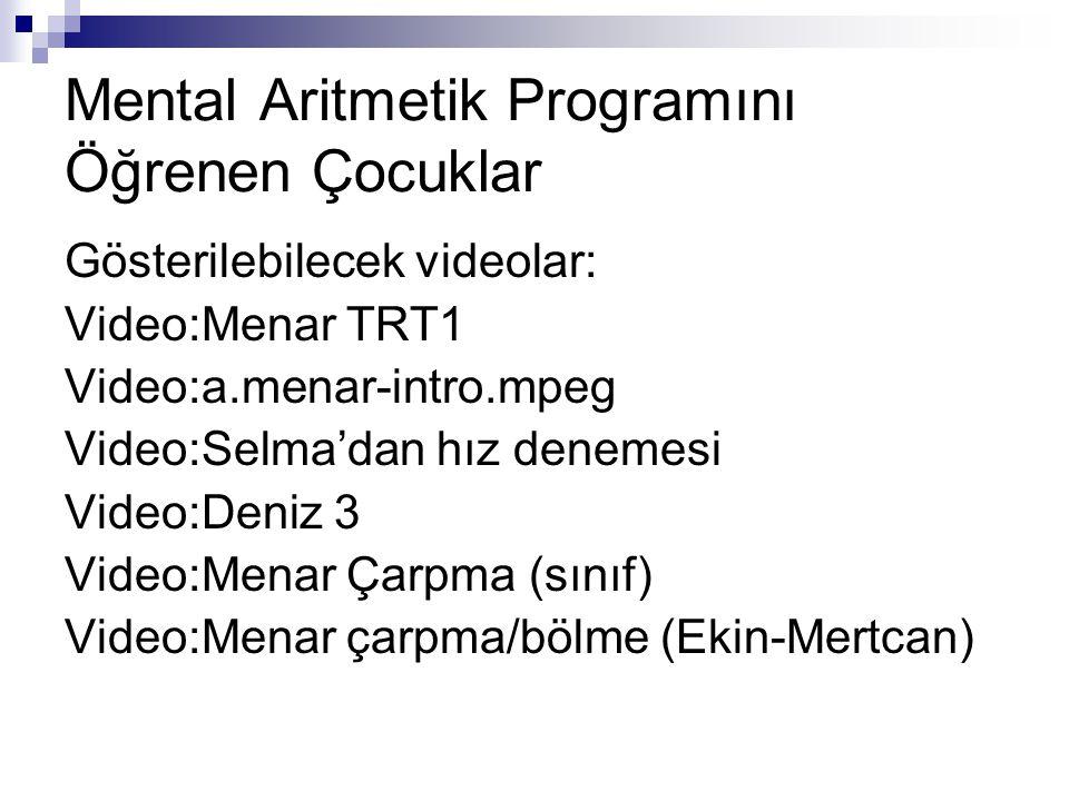 Mental Aritmetik Programını Öğrenen Çocuklar Gösterilebilecek videolar: Video:Menar TRT1 Video:a.menar-intro.mpeg Video:Selma'dan hız denemesi Video:Deniz 3 Video:Menar Çarpma (sınıf) Video:Menar çarpma/bölme (Ekin-Mertcan)